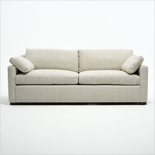 sofa with down-filled cushions