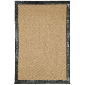 Natural sisal area rug with leather border