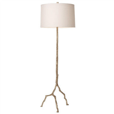 Distressed silver floor lamp with white shade
