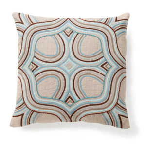 Pillow with aqua graphic print