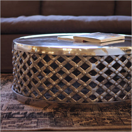 Metal drum coffee table round polished silver finish canvas - Metal Drum Coffee Table Round Polished Silver Finish