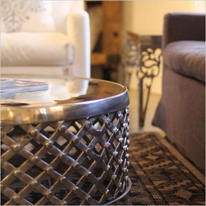 Polished metal coffee table
