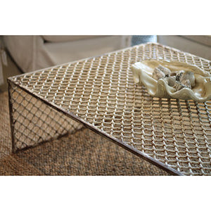 Distressed white iron coffee table