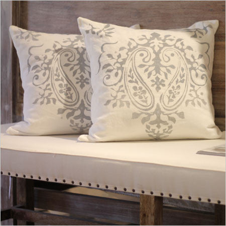 Wood Bench Upholstered Seat Nailhead Trim Canvas