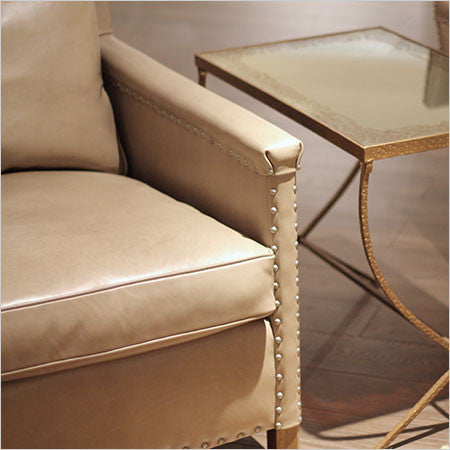 Accent Chair Leather Or Fabric Nailhead Trim Canvas