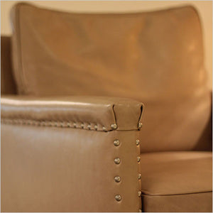 leather accent chair with nail head trim