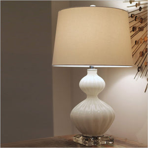 Rippled white glass table lamp with crystal accents