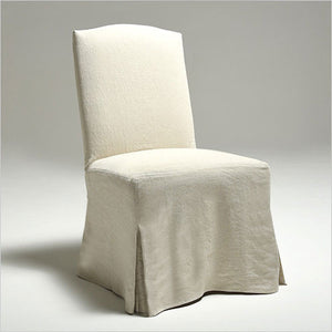 slip-covered dining chair