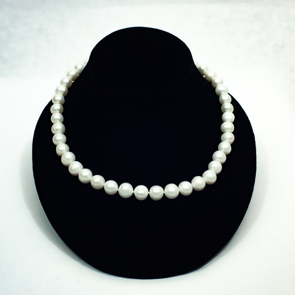 Classic White Round Pearl Necklace - Blue Sky Clothing Co