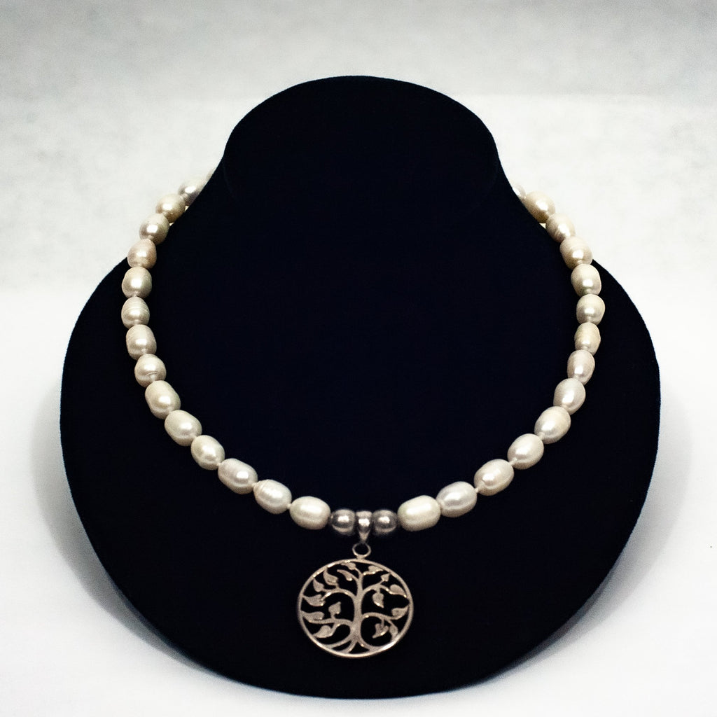 Pearl & Silver Tree of Life Necklace - Blue Sky Clothing Co