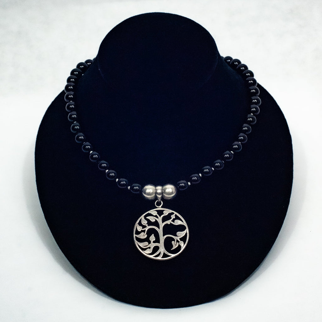 Silver Tree of Life & Blue Necklace - Blue Sky Clothing Co