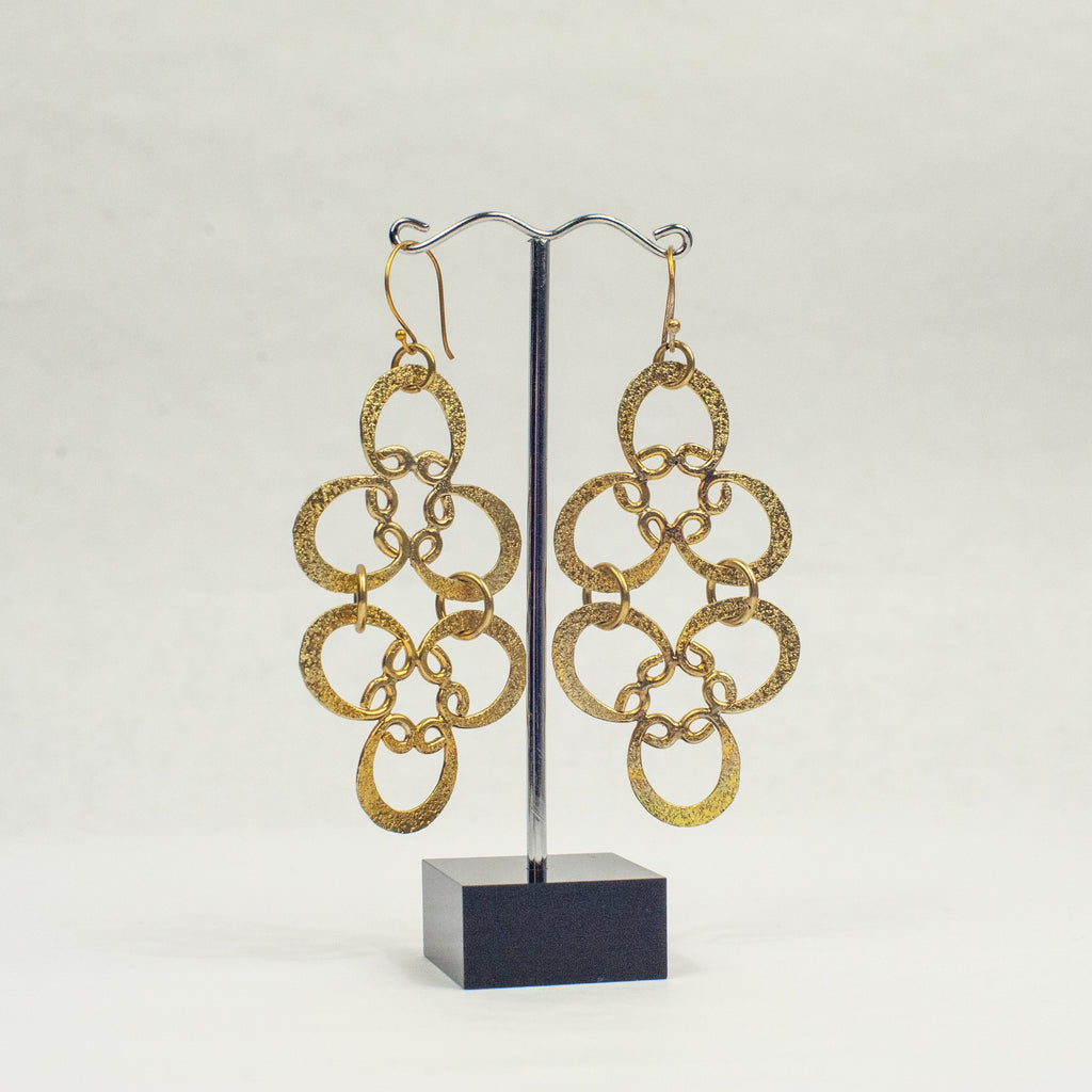 Gold Lotus Large Earrings - Blue Sky Clothing Co