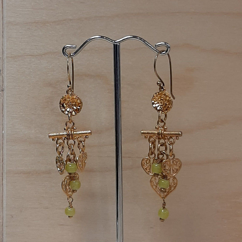 Gold Chartreue Charms Earrings