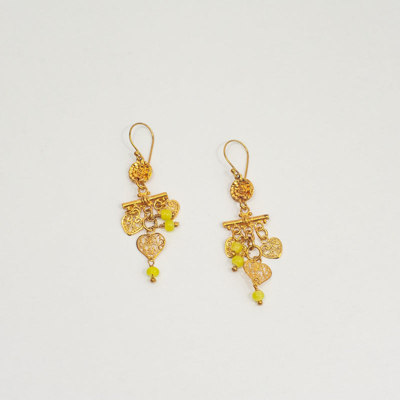 Gold Chartreue Charms Earrings - Blue Sky Clothing Co