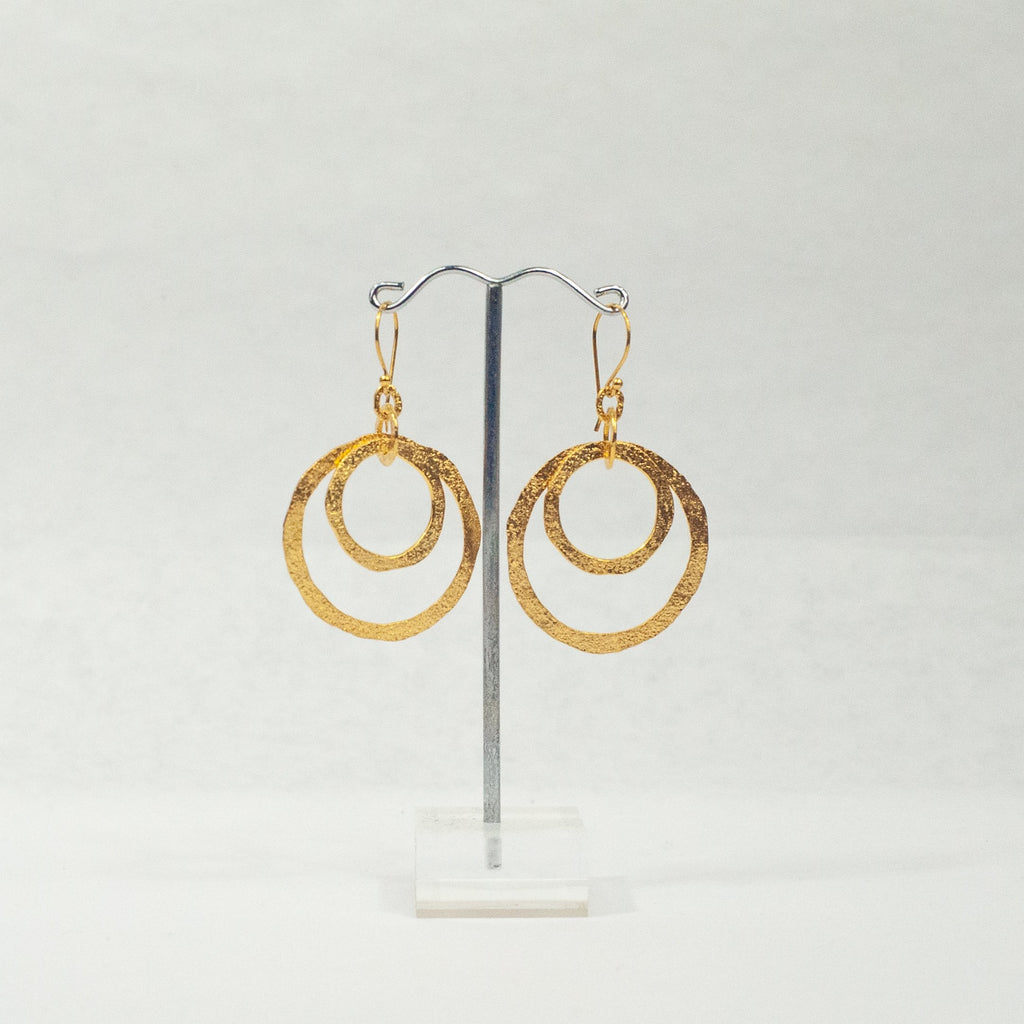Small Gold Double Circles Earrings - Blue Sky Clothing Co