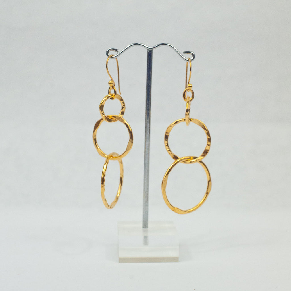 Gold 3 Hoops Link Earrings - Blue Sky Clothing Co
