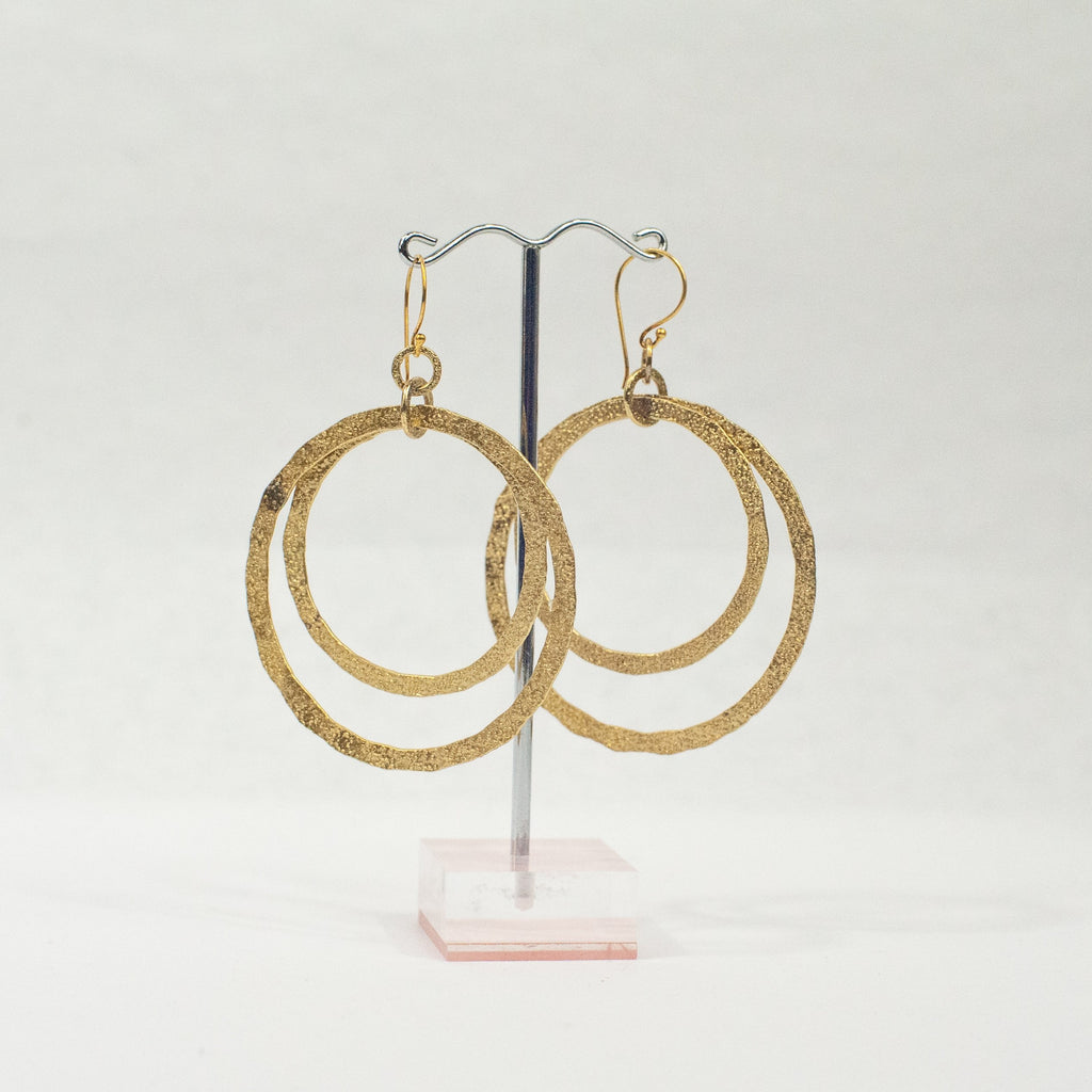 Gold Double Circles Earrings - Blue Sky Clothing Co