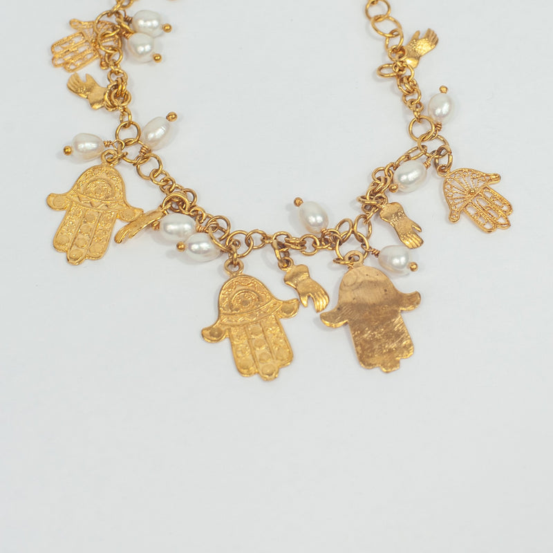 Gold Hamsa Hand Necklace - Blue Sky Clothing Co