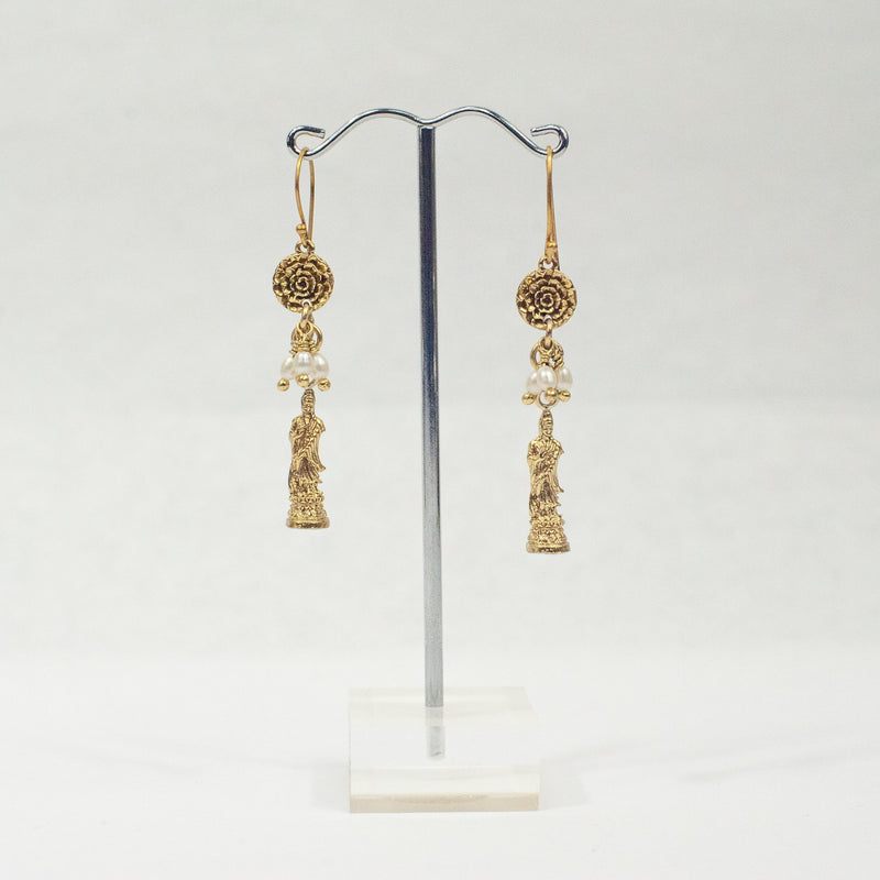 Gold Mini Buddha Pearls Earrings - Blue Sky Clothing Co