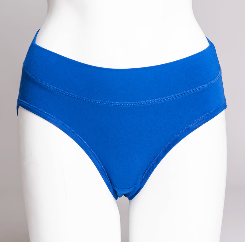 Women's cute and comfy cobalt blue hipster underwear made with natural fibers.
