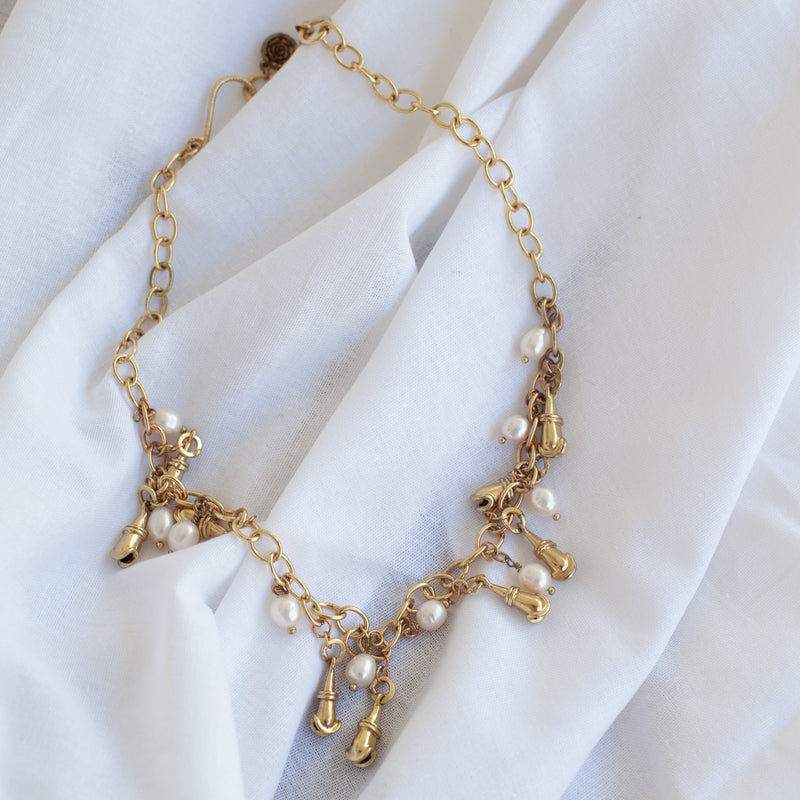 Gold Cascabel bell & Pearl Necklace - Blue Sky Clothing Co