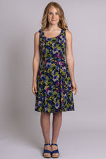 Women's cordelia flower print sleeveless short summer dress with fitted bodice and round neckline.