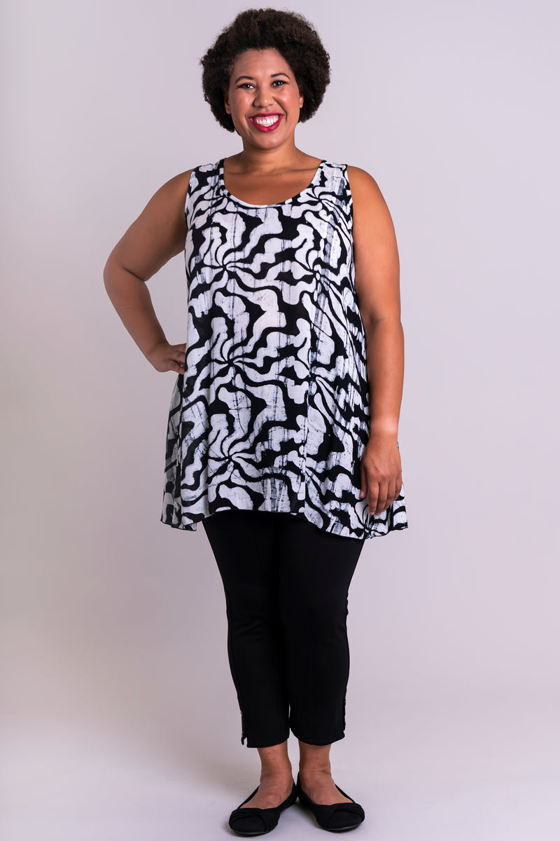 Women's long black and white batik art flowy tank top with wide shoulder strap and U-neckline.