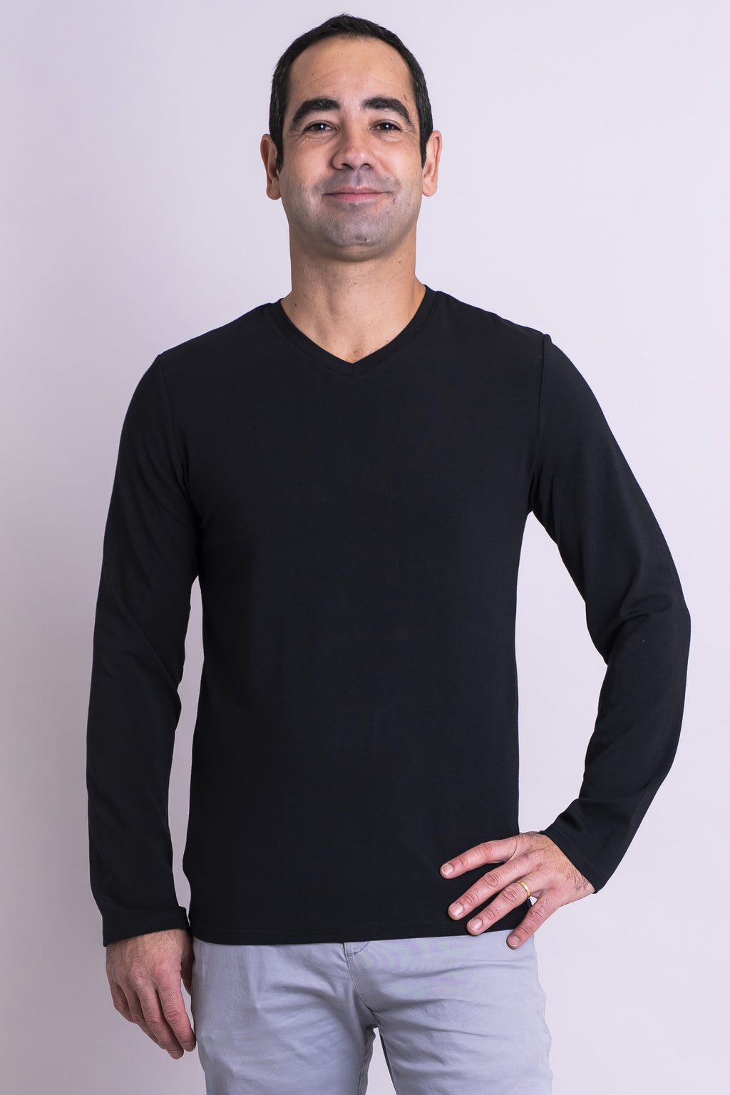 Men's top, long sleeve, black, casual-wear