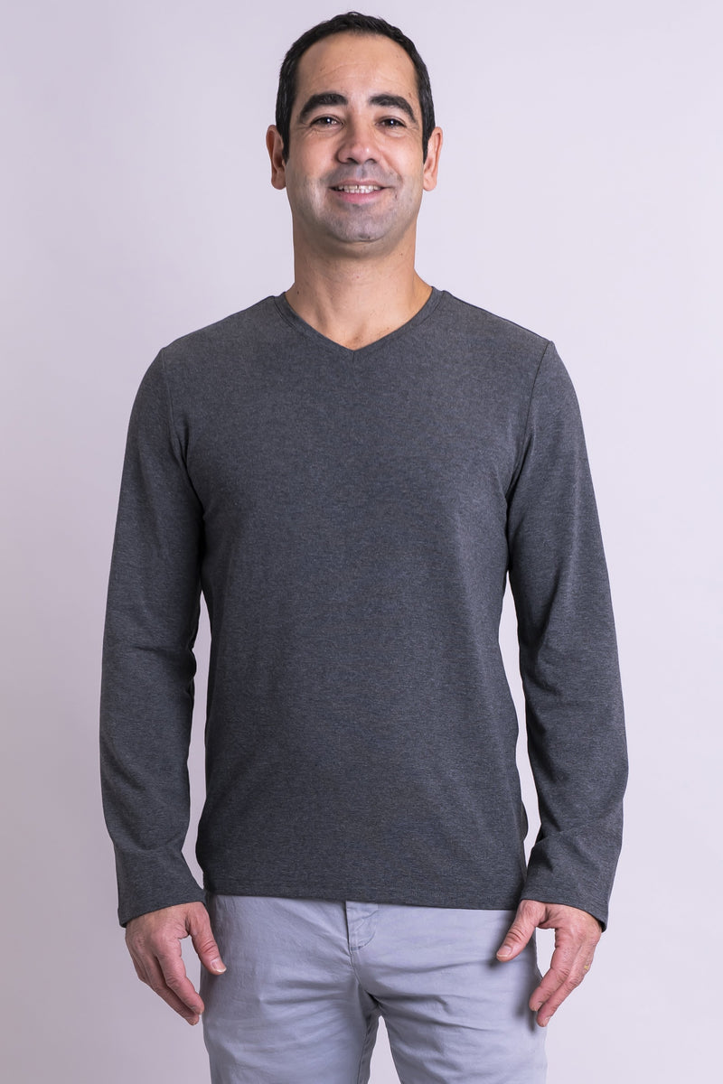 Adam Long Sleeve, Graphite, Bamboo - Blue Sky Clothing Co