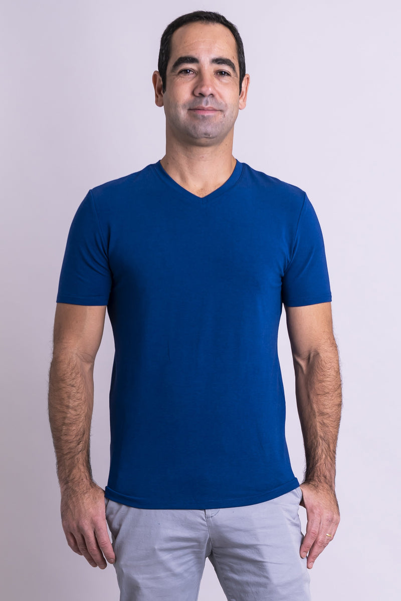 Men's blue V-neck t-shirt made with natural fibers.