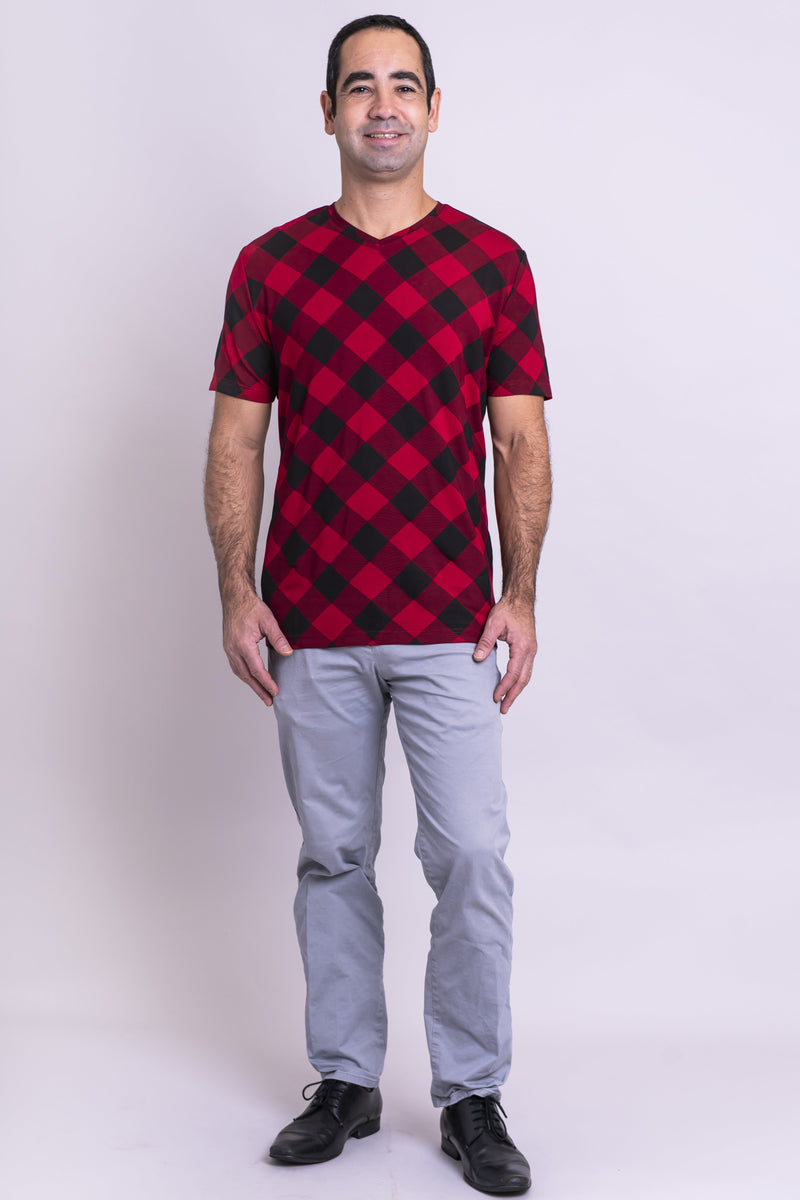 Adam Top, Lipstick Plaid, Bamboo - Blue Sky Clothing Co