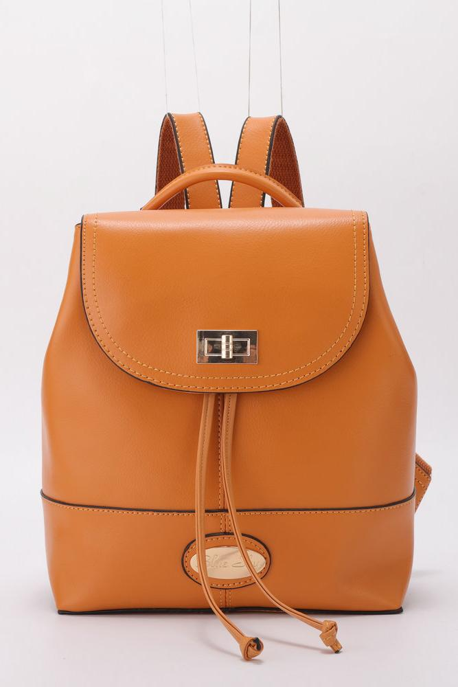 Women's stylish gold brown small leather backpack bag.