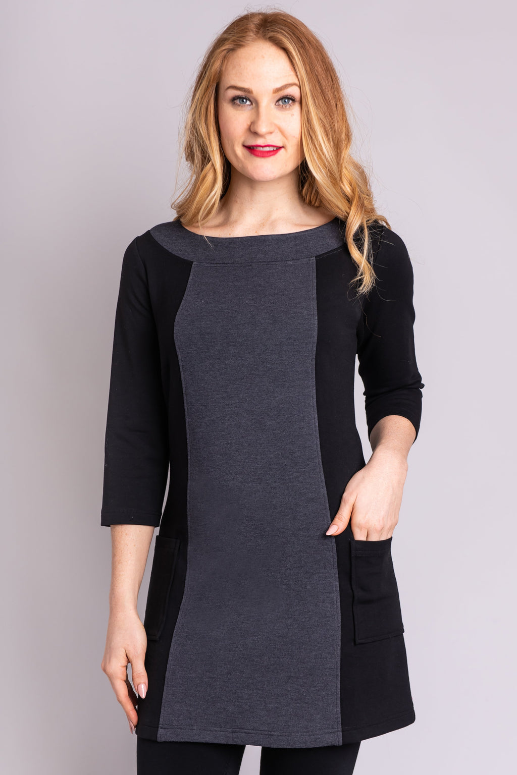 Alison Tunic, Granite, Bamboo Fleece - Blue Sky Clothing Co
