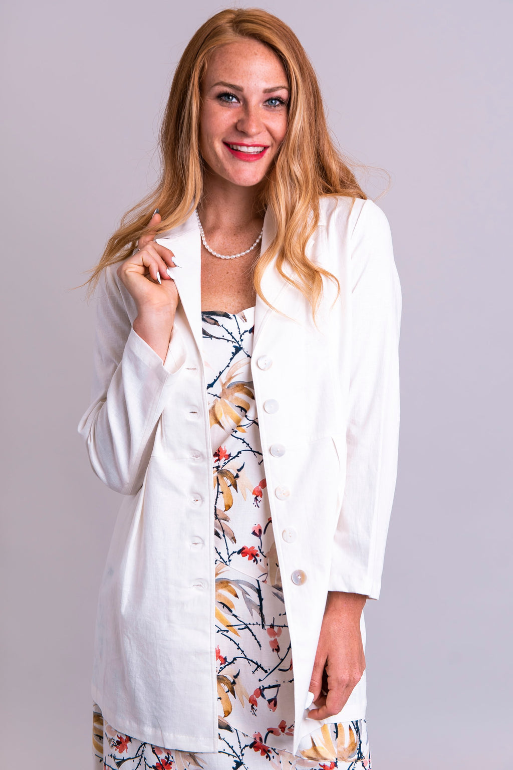 April Jacket, White, Linen Viscose - Blue Sky Clothing Co