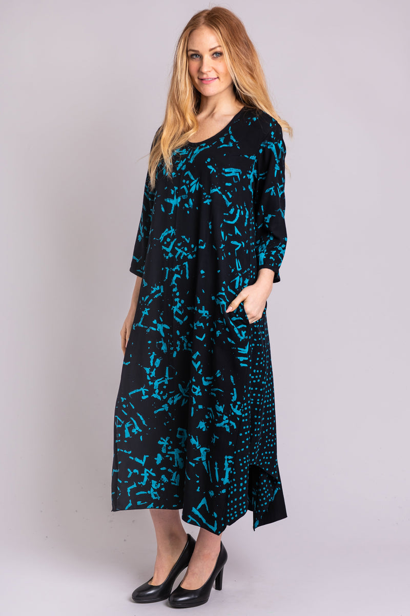 Arya Dress, Teal Cubes - Blue Sky Clothing Co