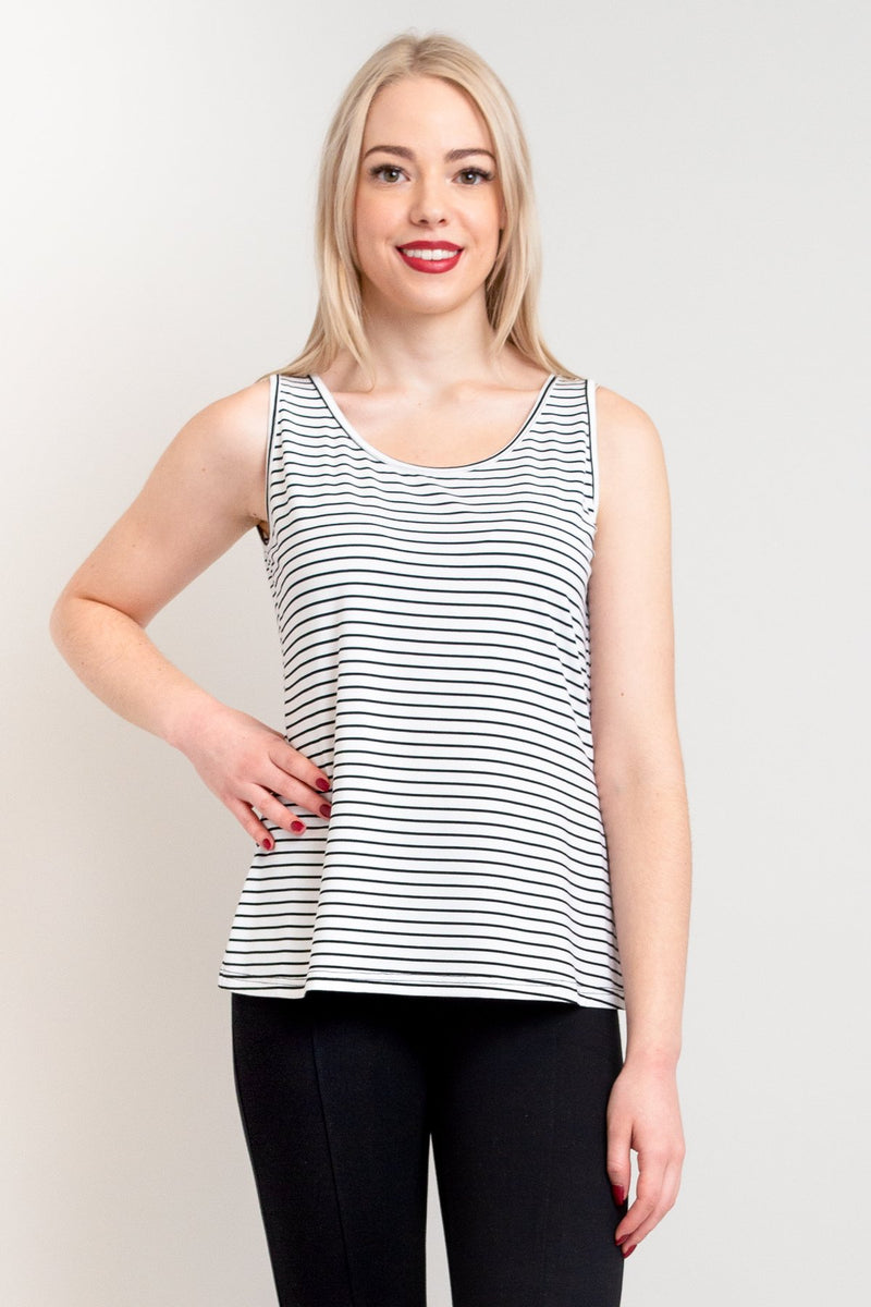 Women's black and white stripe print tank top with wide shoulder band and U-neck, made with natural bamboo fibers.