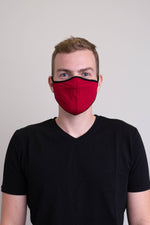 Unisex red comfortable face mask made with natural bamboo fibers.