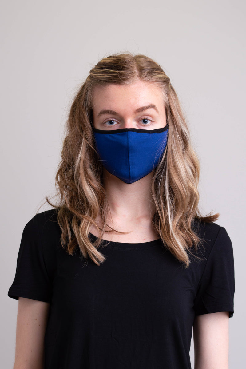 Unisex blue comfortable face mask made with natural bamboo fibers.