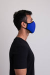 Unisex dark blue comfortable face mask made with natural bamboo fibers.