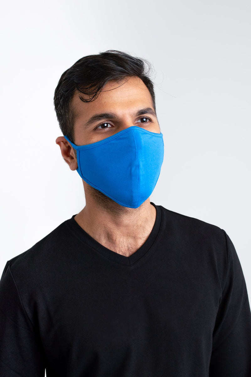 Unisex tie blue comfortable face mask made with natural bamboo fibers.