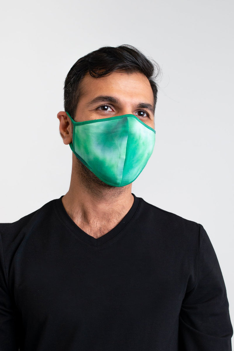 Unisex tie dye green comfortable face mask made with natural bamboo fibers.