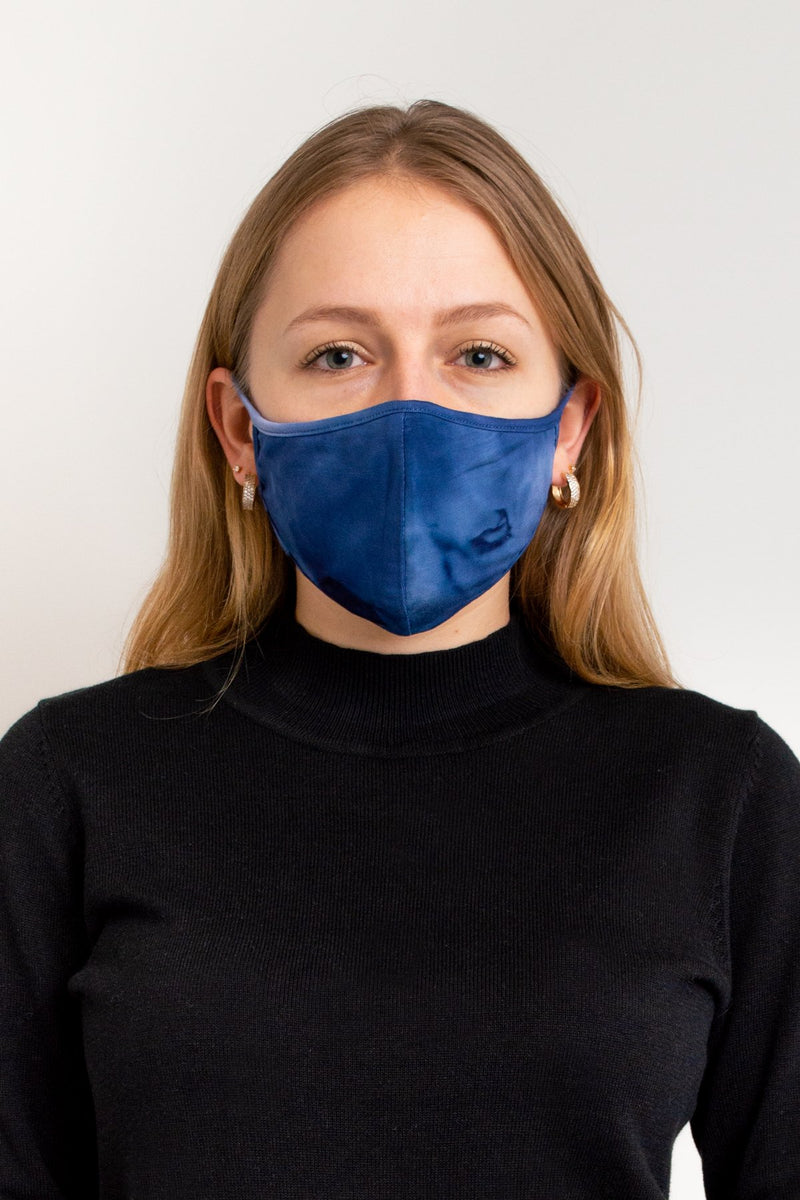 Unisex tie dye blue comfortable face mask made with natural bamboo fibers.