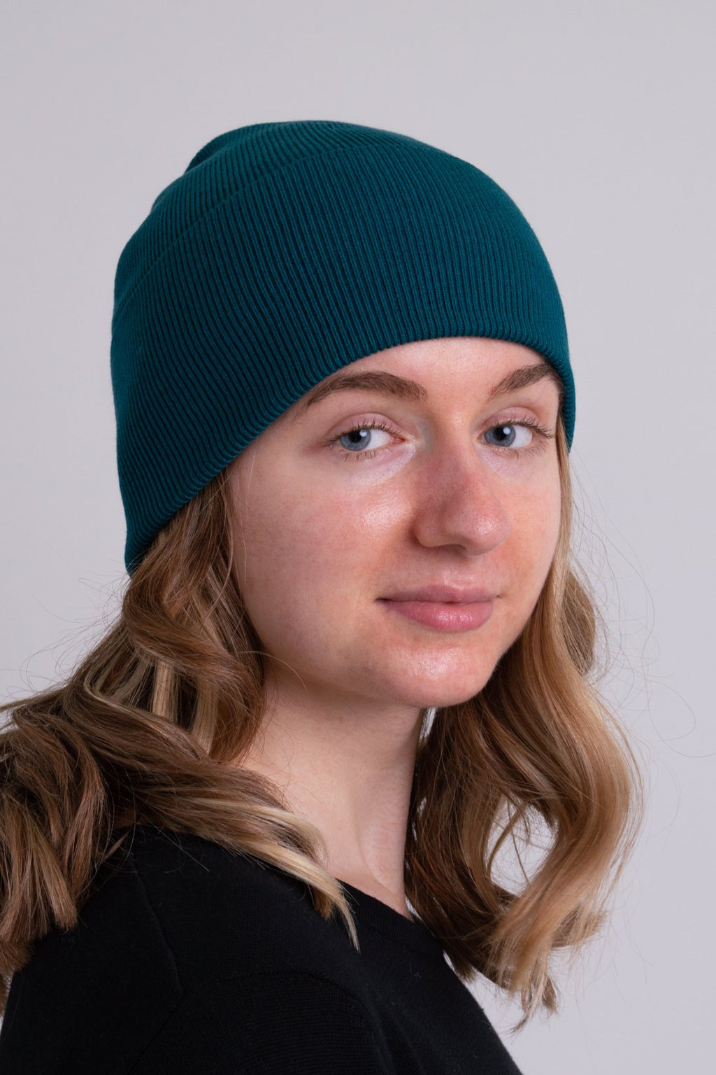 Knit Beanie, Teal, Bamboo Cotton