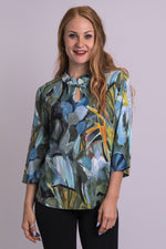 Women's keyhole neckline blue green printed shirt with 3/4 sleeves.