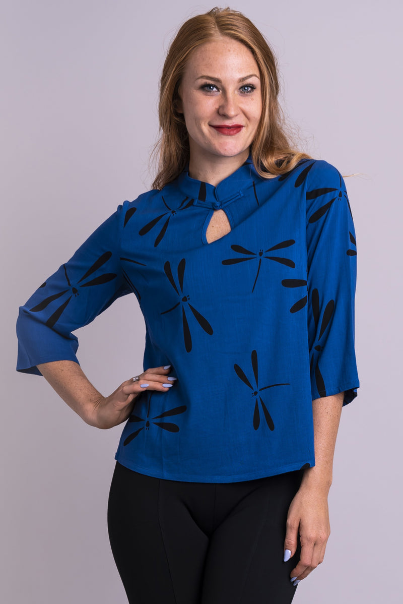 Women's blue firefly print keyhole neckline shirt with 3/4 sleeves.