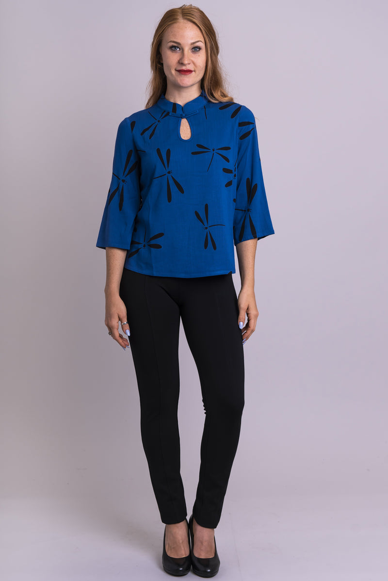 Beijing Top, Sapphire Dragonfly, Linen Bamboo - Blue Sky Clothing Co