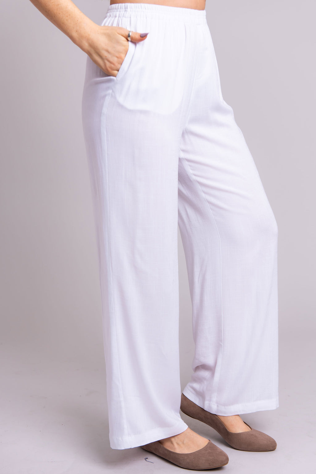 Bella Pant, White, Linen Bamboo - Blue Sky Clothing Co