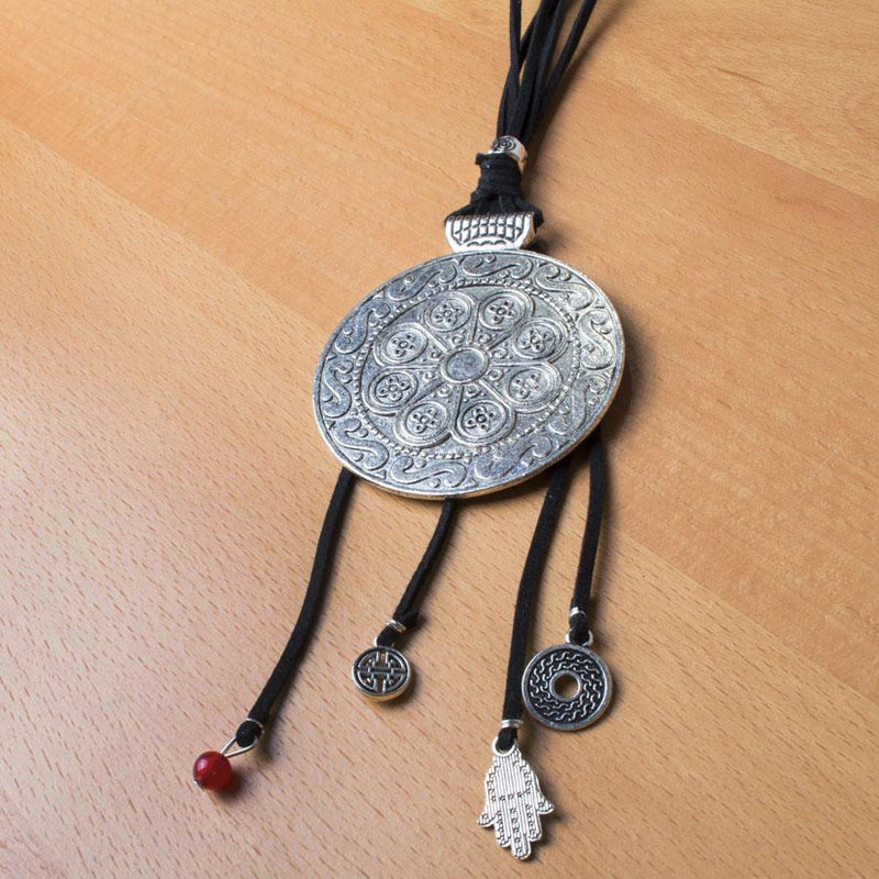Necklace  Black/Crimson Medallion - Blue Sky Clothing Co