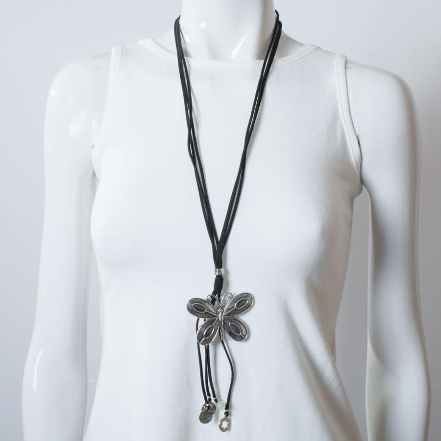 Necklace  Black/Silver Butterfly