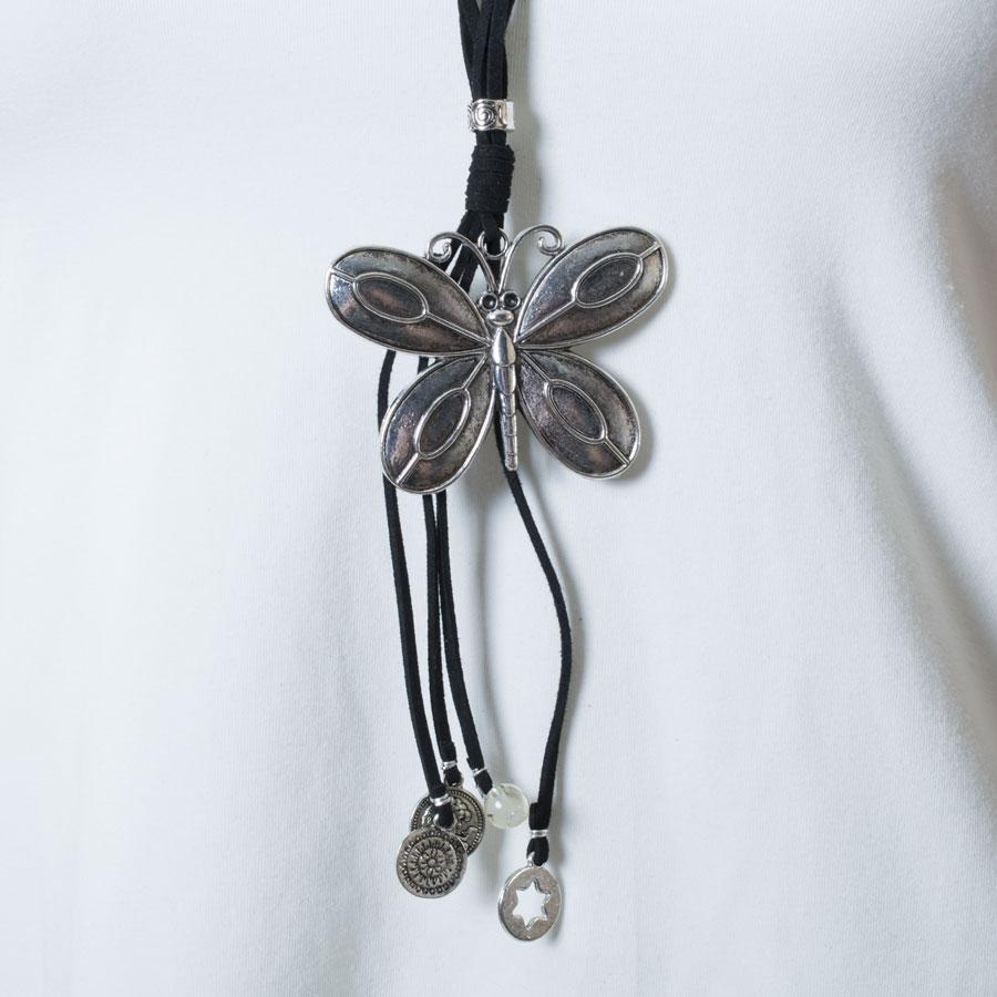 Necklace  Black/Silver Butterfly - Blue Sky Clothing Co